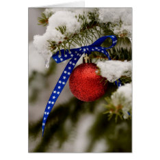 Patriotic Christmas Ornament On A Tree Card at Zazzle