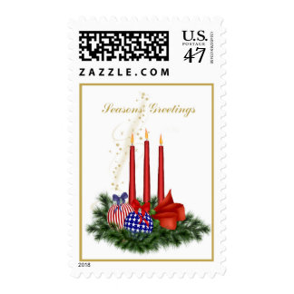 Patriotic Christmas Red Candles and Bulbs Postage Stamp