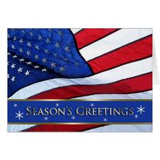 Patriotic Christmas Season's Greetings Card at Zazzle