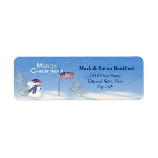 Patriotic Christmas Snowman - Return Label