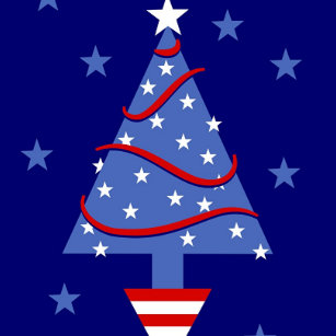 patriotic christmas tree classic round sticker - Red White And Blue Christmas Tree