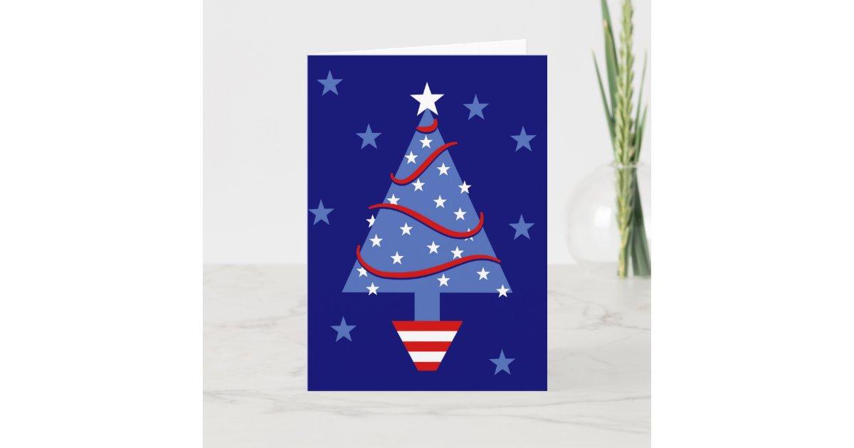 Patriotic Christmas Tree Holiday Card | Zazzle.com