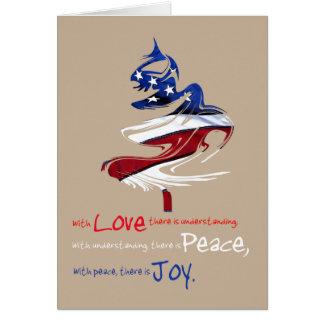 Patriotic Christmas Tree Love Peace Joy Card