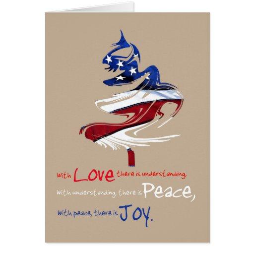 Patriotic Christmas Tree Love Peace Joy Greeting Card