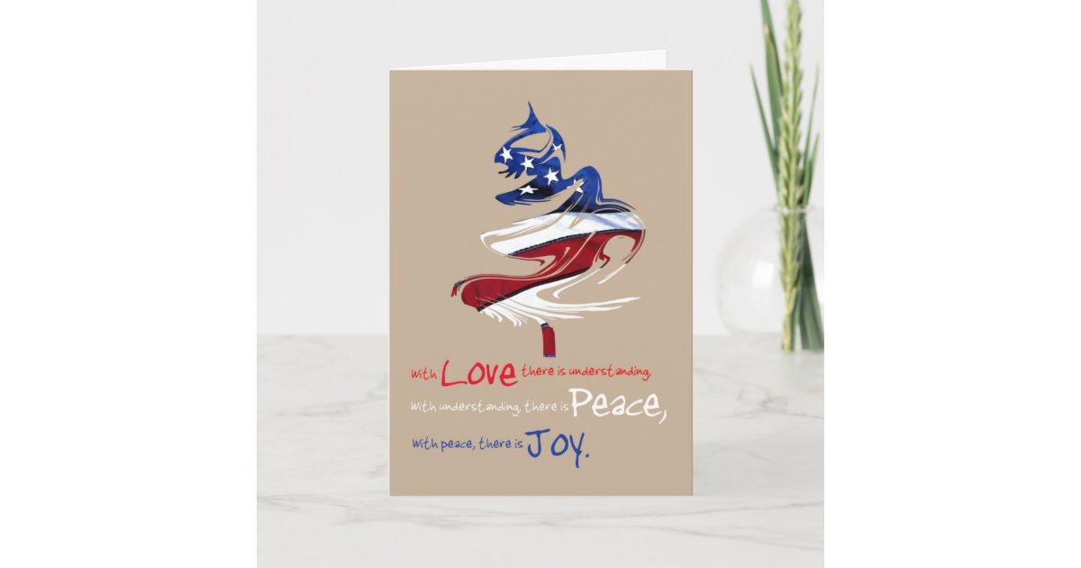 Patriotic Christmas Tree Love Peace Joy Holiday Card | Zazzle.com