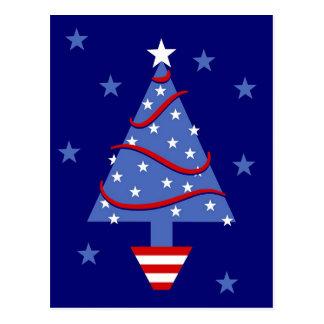 Patriotic Christmas Tree Postcard