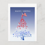 Patriotic Christmas Tree with American Flag Holiday Postcard