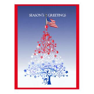 Patriotic Christmas Tree with American Flag Postcard