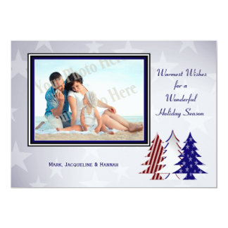 Patriotic Christmas Trees Flat Card Greeting