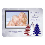 Patriotic Christmas Trees Flat Card Greeting Announcements