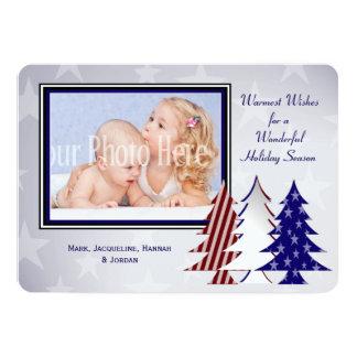 "Patriotic Christmas Trees Flat Card Greeting 5"" X 7"" Invitation Card"