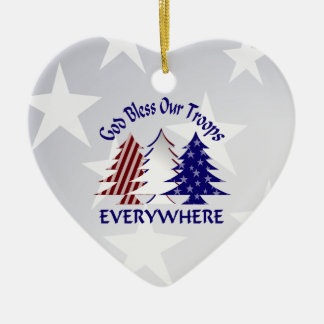 Patriotic Christmas Trees /  Military Prayer Double-Sided Heart Ceramic Christmas Ornament