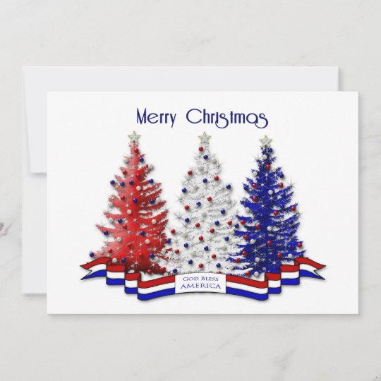 Patriotic Christmas.Patriotic Christmas Trees Military Thank You Card