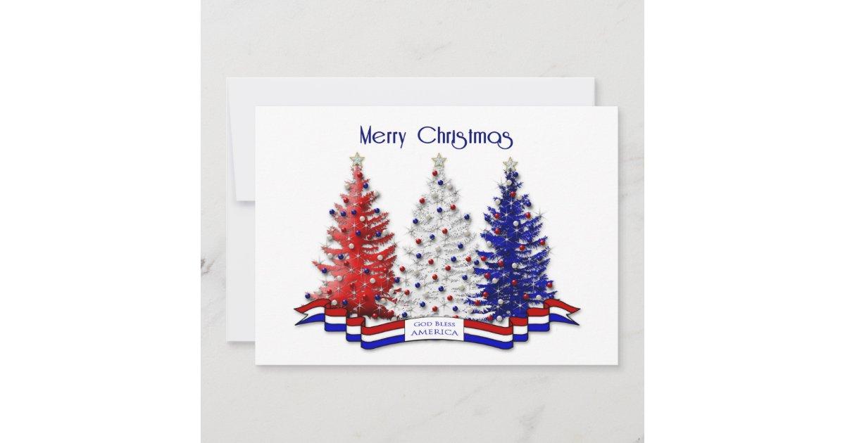 Patriotic Christmas Trees.Patriotic Christmas Trees Military Thank You Card Zazzle Com