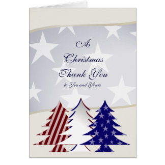 Patriotic Christmas Trees, Military Thank You Card