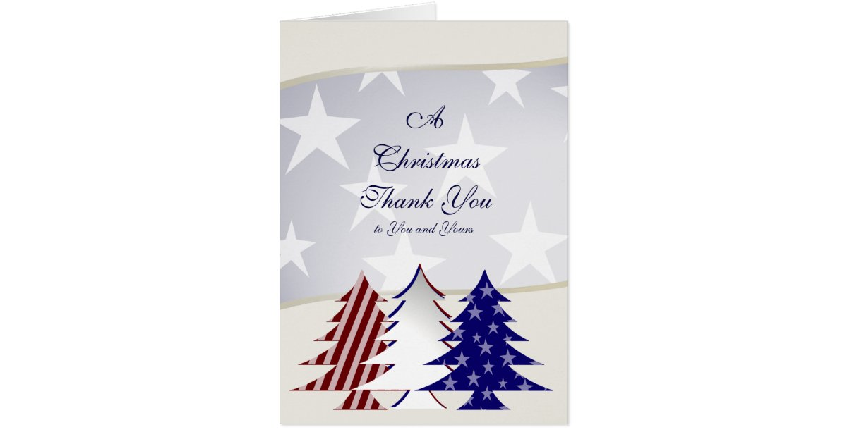 patriotic christmas trees  military thank you card