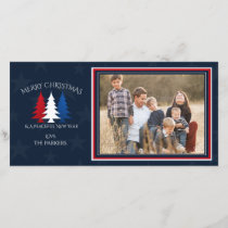 Patriotic Christmas Trees Navy Blue Photo Holiday Card