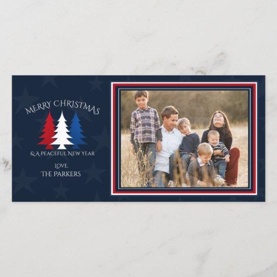 Patriotic Christmas Trees Navy Blue Photo Holiday Card