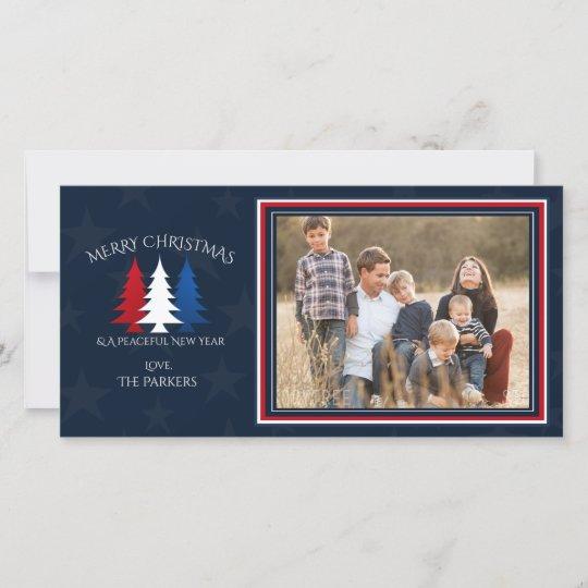 Patriotic Christmas Trees.Patriotic Christmas Trees Navy Blue Photo Holiday Card