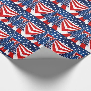 USA Themed Patriotic Christmas Trees Stars and Stripes Wrapping Paper