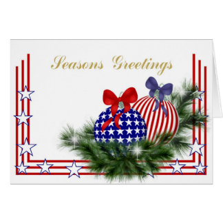 Patriotic Christmas with Ornaments Greeting Card