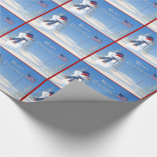 Patriotic Christmas Wrapping Paper -Snowman Salute
