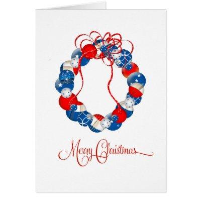 Patriotic Christmas Wreath Stars & Twinkles Card
