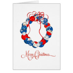 Patriotic Christmas Wreath Stars & Twinkles Card at Zazzle