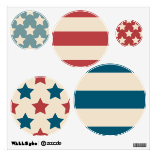 Patriotic Circles Stars Stripes Red White Blue Wall Decal