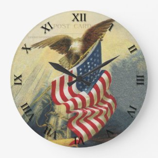 Patriotic Clock - Eagle and Flag