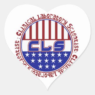 PATRIOTIC CLS CLINICAL LABORATORY SCIENTIS HEART STICKER