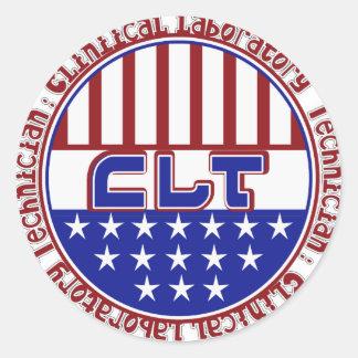 PATRIOTIC CLT CLINICAL LABORATORY TECH CLASSIC ROUND STICKER