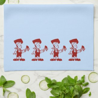 Patriotic Colonial Cartoon Blue Kitchen Towels