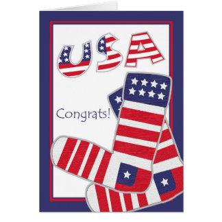 Patriotic Congratulations, Stars and Stripes Socks Card