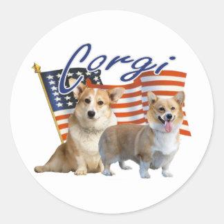 Patriotic Corgi Apparel & Gifts Classic Round Sticker