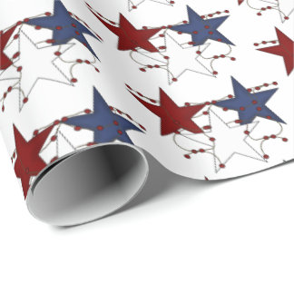 Patriotic Country style stars tiled party wrap Wrapping Paper