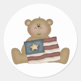 Patriotic Country Teddy Bear Sticker