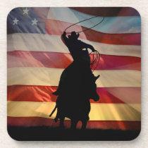 Patriotic Country Western Cowboy Beverage Coaster