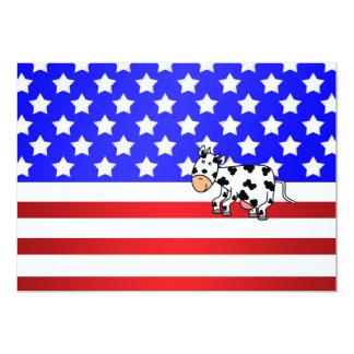 Patriotic cow 5x7 paper invitation card