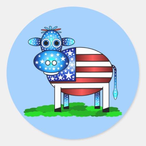 patriotic cow classic round sticker