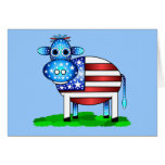 patriotic cow greeting card