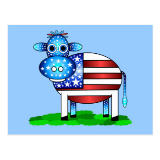 patriotic cow postcard