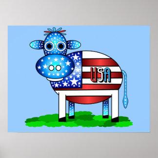 patriotic cow poster