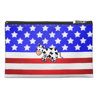 Patriotic cow travel accessory bags