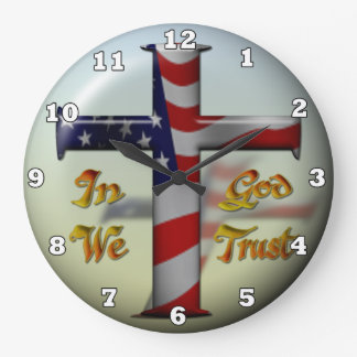 Patriotic Cross fun wall clock