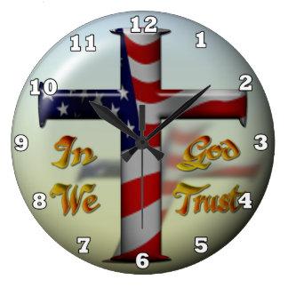 Patriotic Cross fun wall clock