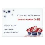 """Patriotic Cupcake 3.5"""" X 5"""" Invitation Card"""