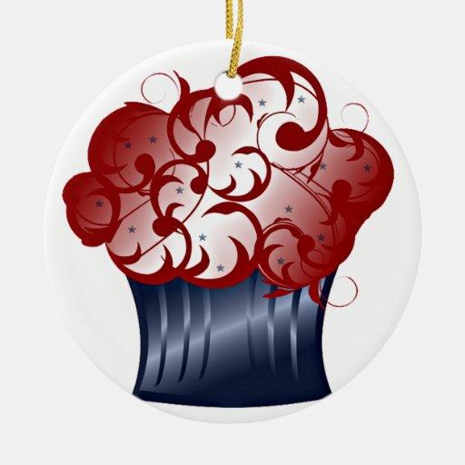 Patriotic Cupcake Ceramic Ornament