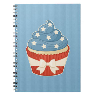 Patriotic Cupcake on Blue Stripes Spiral Notebooks