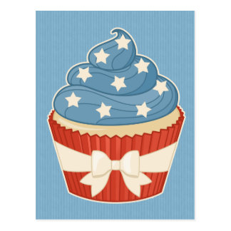 Patriotic Cupcake on Blue Stripes Postcard